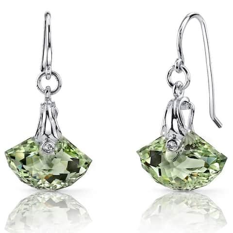 Gemstone Shell Design Dangle Earrings in Sterling Silver