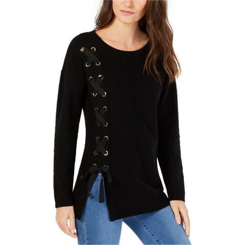 I-N-C Womens Lace Up Tunic Sweater, Black, X-Large