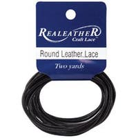 Black - Round Leather Lace 2Mmx2yd Packaged