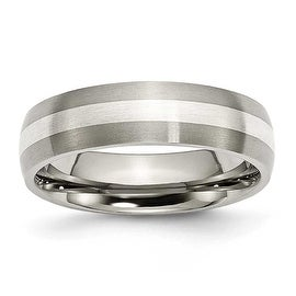 Chisel Sterling Silver Inlaid Brushed Titanium Ring (6.0 mm) - Sizes 6-13