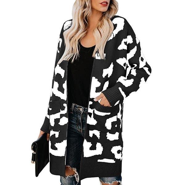 Eoeth Women Long Sleeve Knit Cardigan Casual Leopard Print Long Loose Sweaters Outwear Tunic Coat Overcoat Trench Blouse
