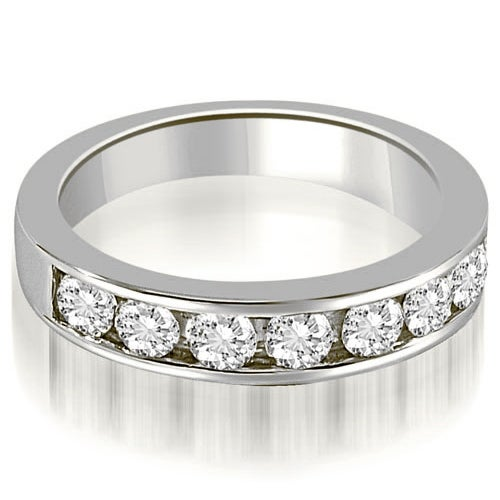 0.96 cttw. 14K White Gold Classic Channel Set Round Cut Diamond Wedding Ring