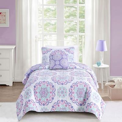 Vivian Medallion Lilac Pink Mul-Piece Cotton Reversible Quilt Set