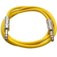 "SEISMIC AUDIO - Yellow 1/4"" TRS 6' Patch Cable  Effects"