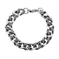 INOX Jewelry Men's Stainless Steel Skulls Curb Chain with Lobster Lock Bracelet