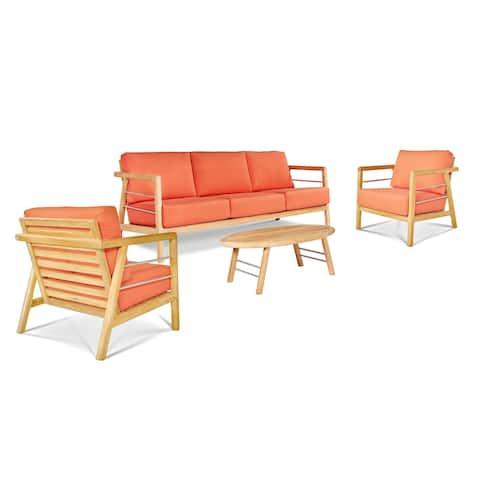 Aalto 4-Piece Teak Deep Seating Outdoor Sofa Set with Sunbrella Melon Cushions