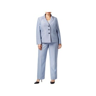 Le Suit Womens Plus Pant Suit Pinstripe Adjustable Sleeves