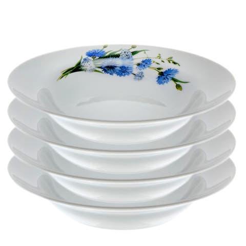"""STP-Goods Cornflowers Porcelain Soup Plate 9.4"""" (Set of 4)"""