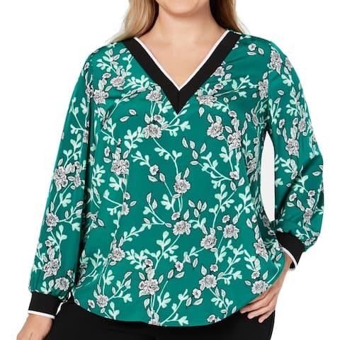 Alfani Womens Blouse Green Size 2X Plus V Neck Varsity Stripe Floral
