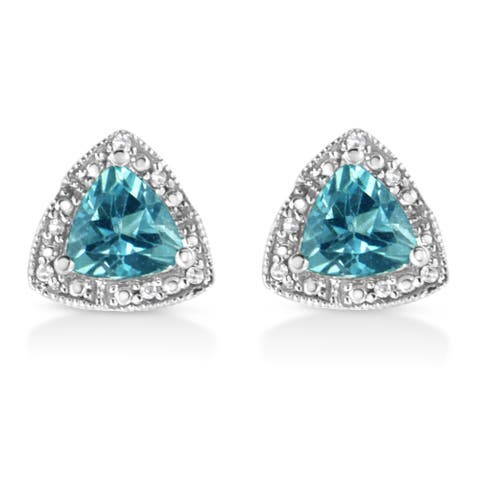 .925 Sterling Silver 6x6 mm Trillion Cut Blue Topaz Gemstone and Diamond Accent Stud Earring (I-J Color, I1-I2 Clarity) - 6x6MM
