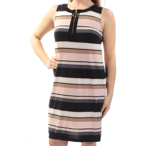 MSK Womens Pink Striped Sleeveless Jewel Neck Knee Length Shift Dress Size: 8