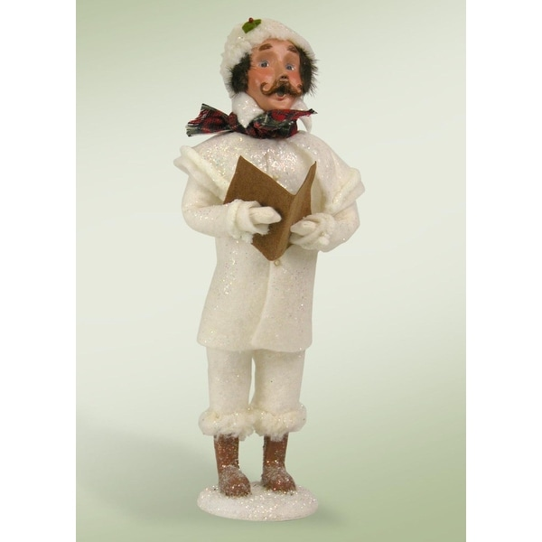 """14"""" Winter White Family Man with Songbook Christmas Caroler Figure"""