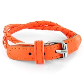 Orange Multi Weaved Double Wrap Leather Bracelet with Buckle End Design (Sold Ind.) (5 mm) - 7.5 in