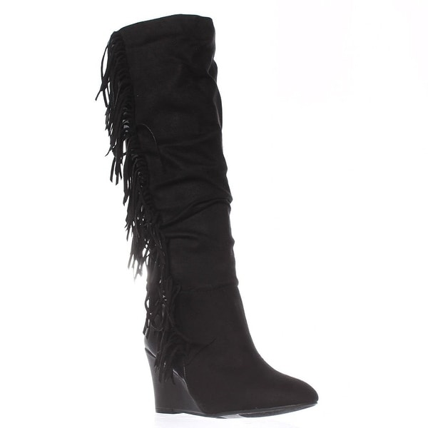 Just Fab Womens Maxime Fabric Closed Toe Mid-Calf Fashion Boots