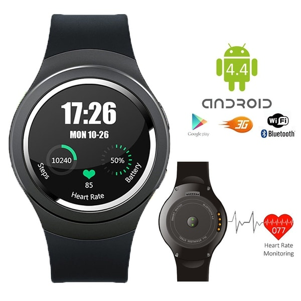 Indigi® A6 SmartWatch & Phone - Android 4.4 OS + Bluetooth 4.0 + Pedometer + Heart Monitor + WiFi (Factory Unlocked)