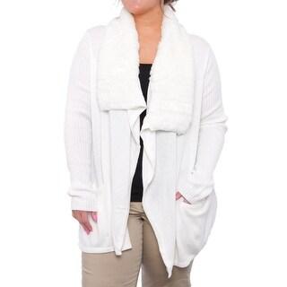 Charter Club Faux Fur Shawl Cardigan Sweater Women Regular Sweater