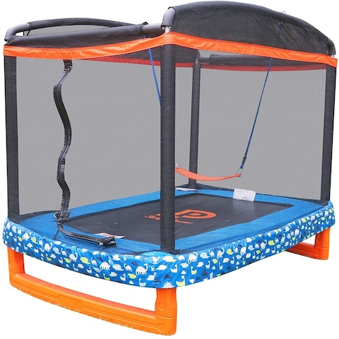 """72"""" x 50"""" Rectangle Indoor/Outdoor Trampoline & Safety Net Enclosure with Swing Combo-for Children & Toddlers"""