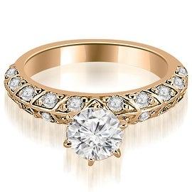 1.10 cttw. 14K Rose Gold Antique Round Cut Diamond Engagement Ring