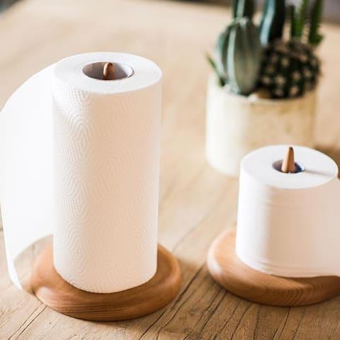 RusticReach Solid Wood Paper Towel Holder