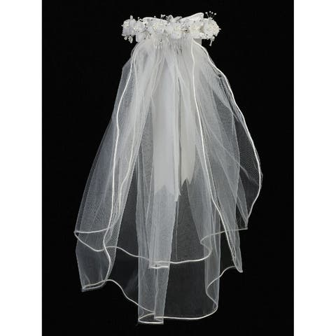 Lito Girls White Organza Flowers Satin Bow 24 Inch Communion Girl Veil