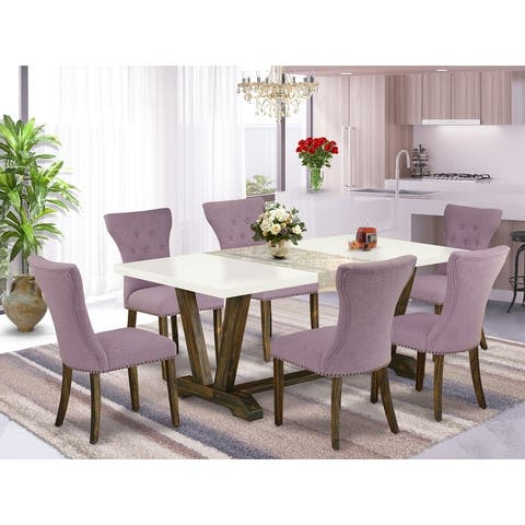 Dining Set - Dining Table and 4 Parson Chairs with Button Tufted Chair Back (Number of Chairs Option)