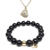 "Black Onyx 7"" Bracelet & CZ Heart Lock Gold Charm Necklace Set"