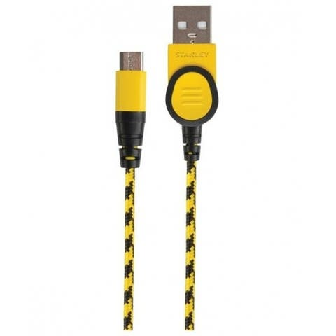 Stanley 131 9592 ST2 Braided Micro-USB Cable, Black/Yellow, 10' L