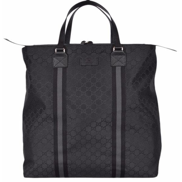 Gucci 449179 Black Nylon Gg Guccissima Web Trim Xl Zip