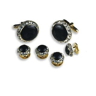 Crystal Formal Tuxedo Cufflinks and Studs Set in Gold