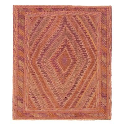 ECARPETGALLERY Hand-knotted Tajik Caucasian Purple Wool Rug - 4'9 x 5'6