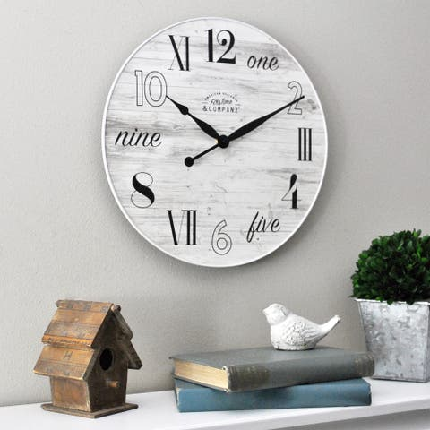 FirsTime & Co. Cottage Plank Clock, Plastic