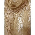 Women's Sheer Lace Scarf With Teardrops Fringe - Thumbnail 1