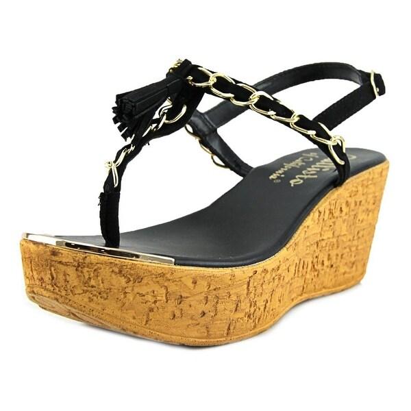 Callisto Tella Women Open Toe Synthetic Black Wedge Sandal