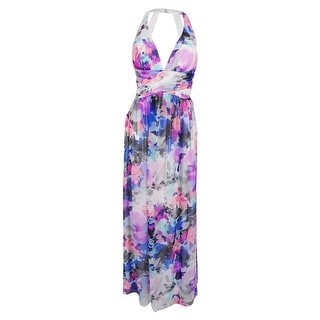 S.L. Fashions Women's Floral-Print Halter Gown