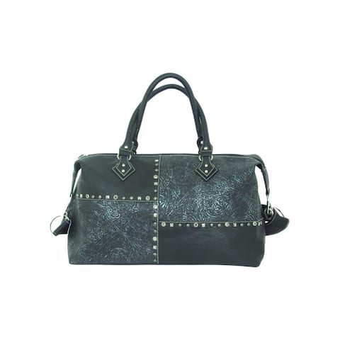 Savana Western Duffel Bag Womens Patchwork Zip Faux Leather - 18 x 11 x 8.5