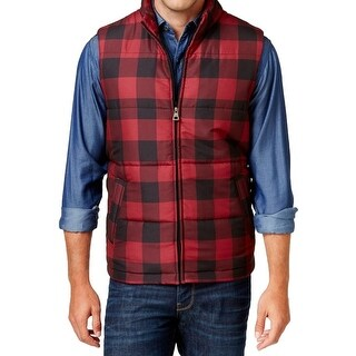 Weatherproof NEW Red Mens Size Large L Full-Zip Plaid Vest Jacket