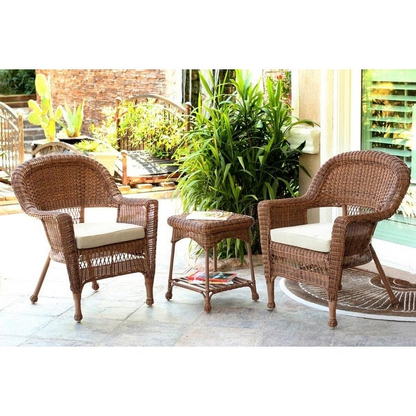 3 Piece Honey Brown Resin Wicker Patio Chairs And End Table Furniture Set    Tan