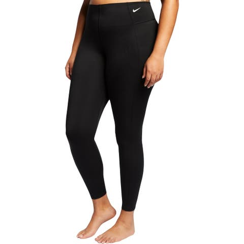Nike Womens Plus Athletic Leggings Dri-Fit Fitness - Black