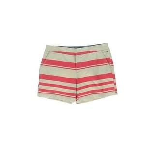 Tommy Hilfiger Womens Twill Striped Khaki, Chino Shorts - 16