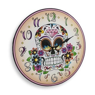 Day of the Dead Sugar Skull 12 Inch Round Wall Clock