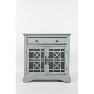 Link to Craftsman Series 32 Inch Wooden Accent Cabinet with Fretwork Glass Front, Earl Grey Similar Items in Dining Room & Bar Furniture