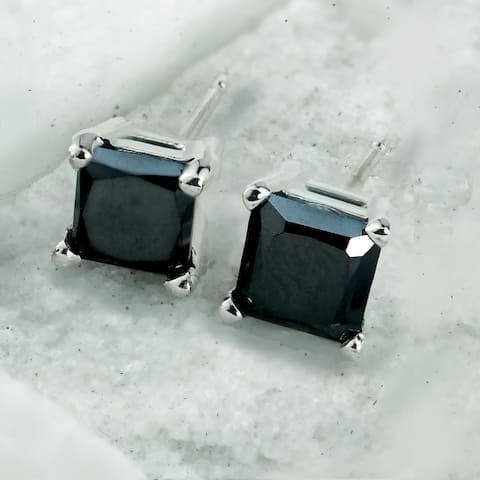 Auriya 14k Gold 2ctw Princess-cut Black Diamond Stud Earrings