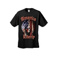 Men's T-Shirt American Liberty USA Flag Feathers Skull Native Chief Freedom Tee - Thumbnail 1