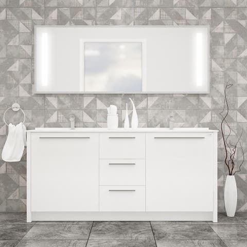 "Nona 60"" Modern Freestanding Bathroom Vanity, Sink and LED Mirror"