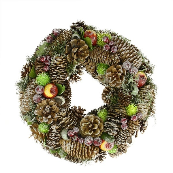 "12.5"" Natural Pine Cone and Fruit Glitter Artificial Christmas Wreath - Unlit - green"