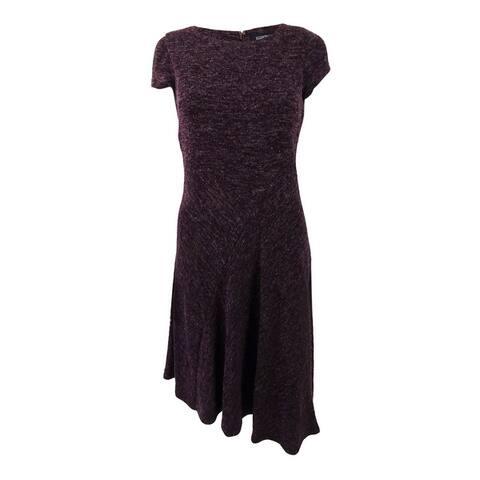 Ellen Tracy Women's Petite Marled Asymmetrical-Hem Sweater Dress