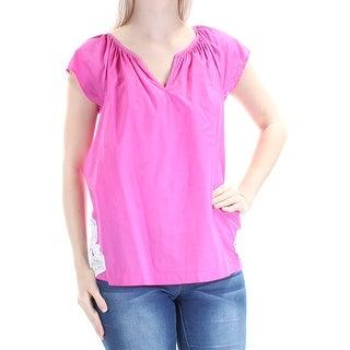 CALVIN KLEIN Womens Pink Beaded Sleeveless Jewel Neck Top  Size: S