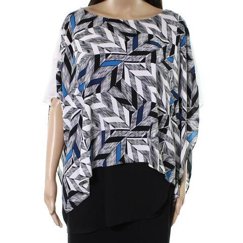 Alfani Womens Blouse Black Size 20W Plus Asymmetrical Geometric-Print