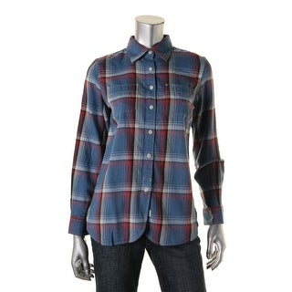 LRL Lauren Jeans Co. Womens Button-Down Top Plaid Long Sleeves