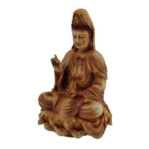 Guanyin Goddess of Mercy Sitting On Lotus Wood Finish Statue